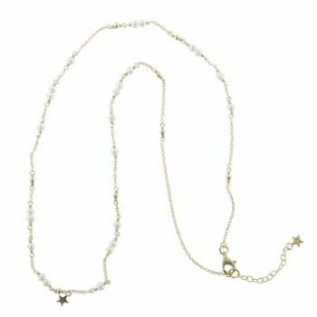 N767 Gold NECKLACE MONOCHROME Pearl Chain Necklace (41 cm)
