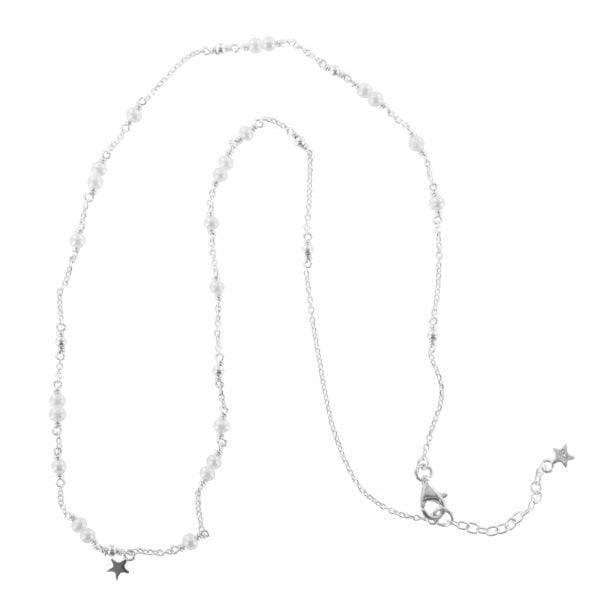 N767 Silver NECKLACE MONOCHROME Pearl Chain Necklace (41 cm)