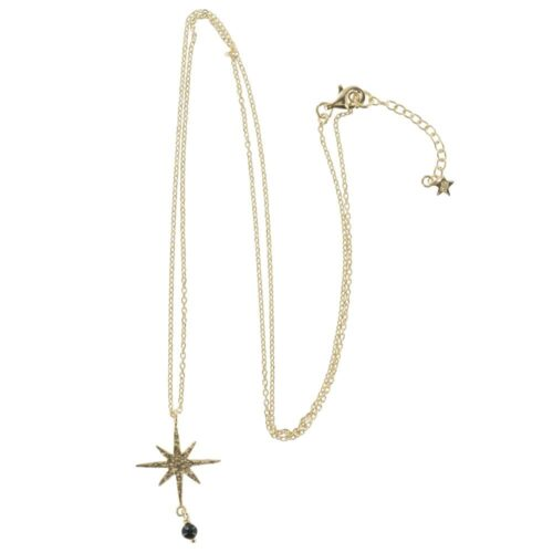 N768 Gold NECKLACE MONOCHROME Big Flash Star Chain Necklace (50 cm)