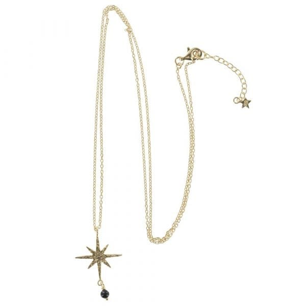 N768 Gold NECKLACE MONOCHROME Big Flash Star Chain Necklace (50 cm)