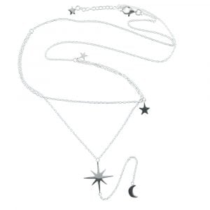 N769 Silver NECKLACE MONOCHROME Big Double Layer Flash Star Chain Necklace (41 cm)