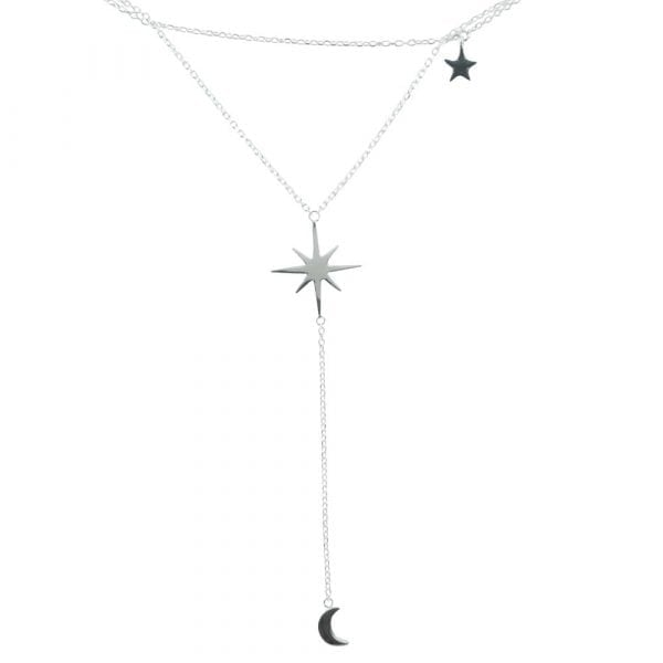 N769 Silver NECKLACE MONOCHROME Big Double Layer Flash Star Chain Necklace (41 cm) PART