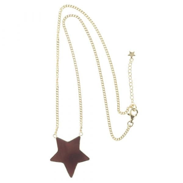 N782 Gold NECKLACE MONOCHROME Big Black Star Necklace (41 cm)