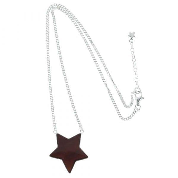 N782 Silver NECKLACE MONOCHROME Big Black Star Necklace (41 cm)