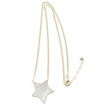 N783 Gold NECKLACE MONOCHROME Big White Star Necklace (41 cm)