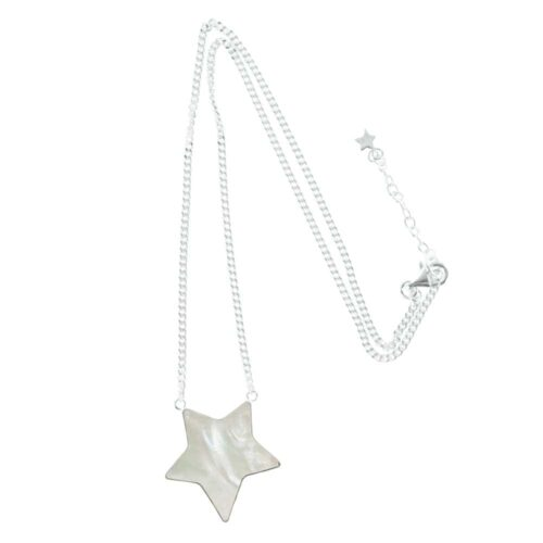 N783 Silver NECKLACE MONOCHROME Big White Star Necklace (41 cm)