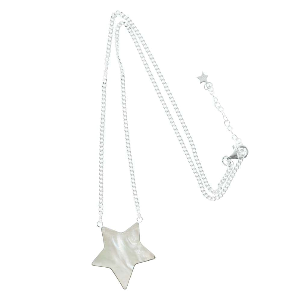 N783 Silver NECKLACE MONOCHROME Big White Star Necklace (41 cm)