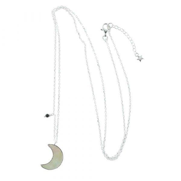 N792 Silver NECKLACE MONOCHROME Parlemour Moon Necklace (55 cm)