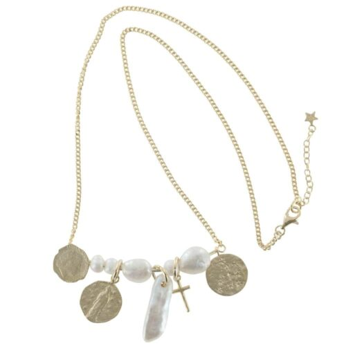 N794 Gold NECKLACE MONOCHROME Statement Coin White Pearl Necklace (41 cm)