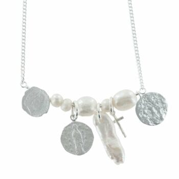 N794 Silver NECKLACE MONOCHROME Statement Coin White Pearl Necklace (41 cm) CLOSE