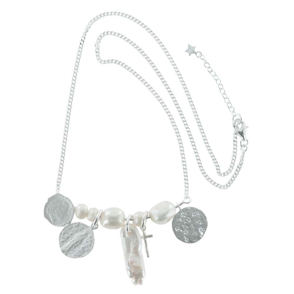 N794 Silver NECKLACE MONOCHROME Statement Coin White Pearl Necklace (41 cm)