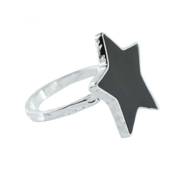 R782 Silver RING MONOCHROME Big Black Star Ring