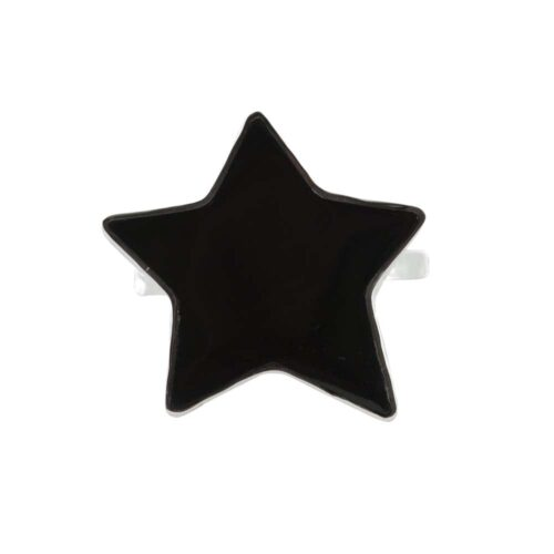 R782 Silver RING MONOCHROME Big Black Star Ring FRONT
