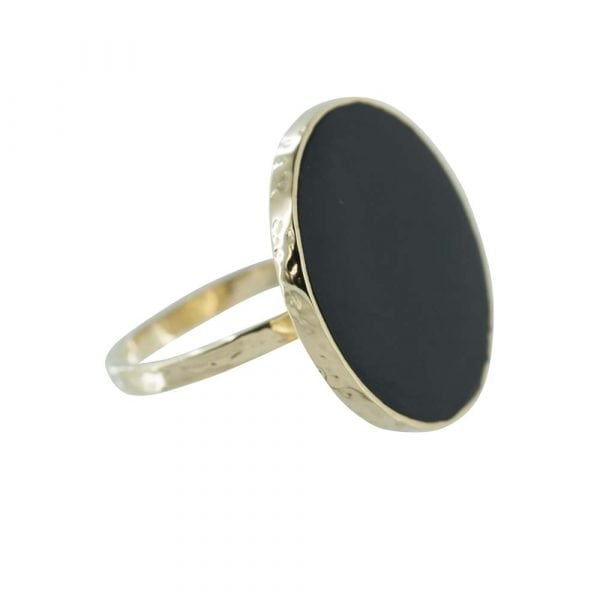 R784 Gold RING MONOCHROME Big Black Circle Ring