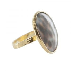 R786 Gold RING MONOCHROME Big Tiger Shell Circle Ring