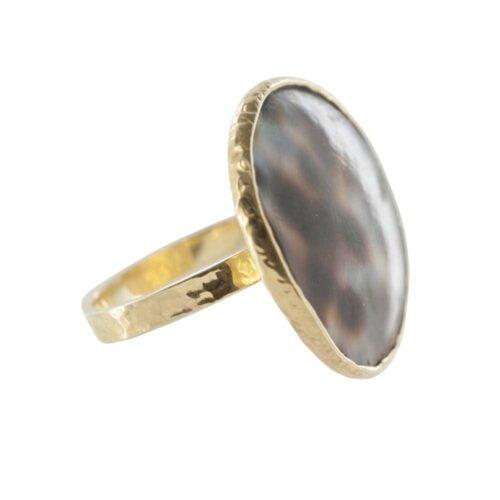 R786 Gold RING MONOCHROME Big Tiger Shell Circle Ring