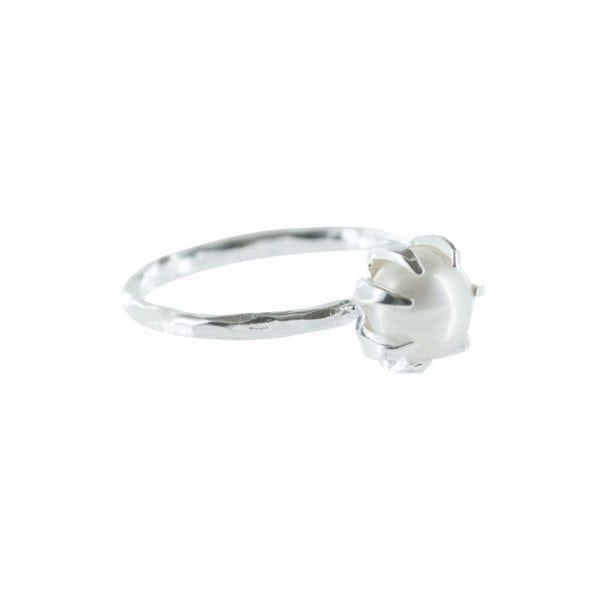 R787 Silver RING MONOCHROME Big White Pearl Ring