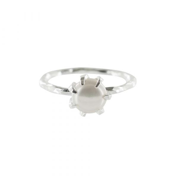 R787 Silver RING MONOCHROME Big White Pearl Ring FRONT