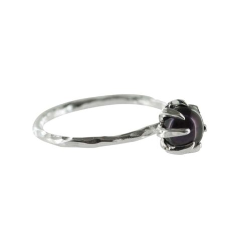 R788 Silver RING MONOCHROME Big Black Pearl Ring