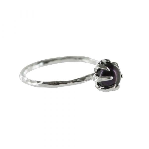 R788 Silver RING MONOCHROME Big Black Pearl Ring