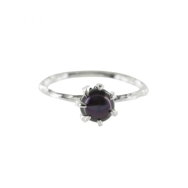 R788 Silver RING MONOCHROME Big Black Pearl Ring FRONT