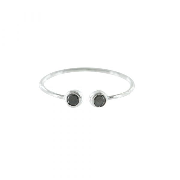 R790 Silver RING MONOCHROME Open Ring Black Onyx One Size