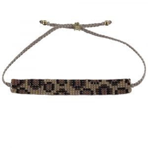 Leopard Beads Bracelet BEIGE Gold Plated