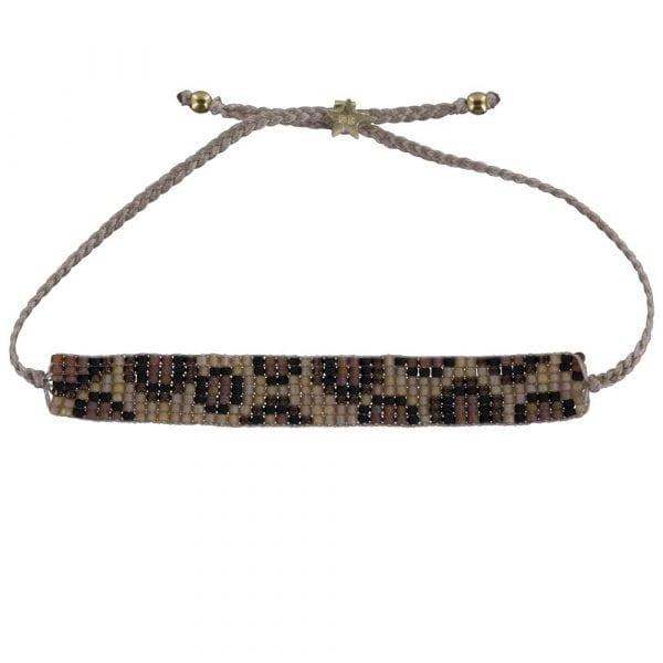Leopard Beads Bracelet BEIGE Gold Plated