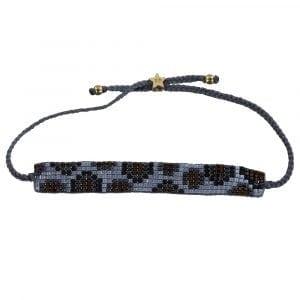 Leopard Beads Bracelet BLUE GREY Gold