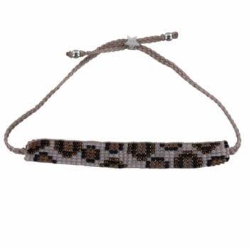 Leopard Beads Bracelet BABY PINK Silver