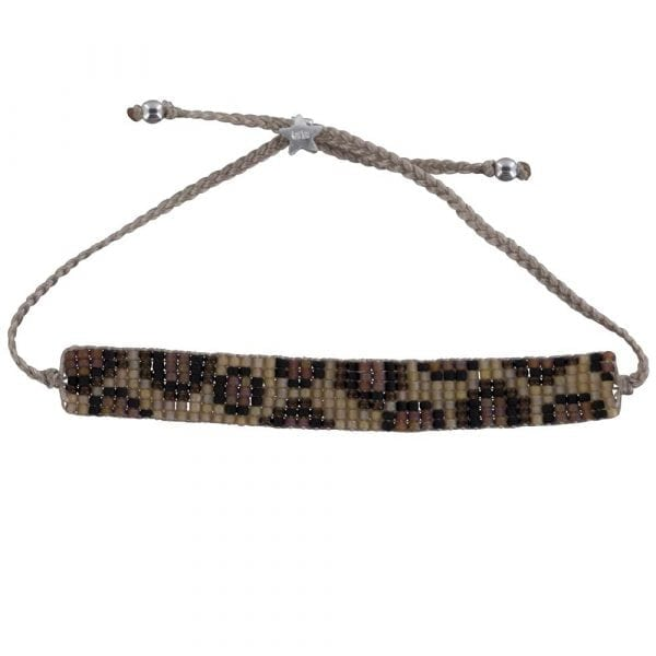 Leopard Beads Bracelet BEIGE Silver