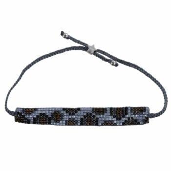 Leopard Beads Bracelet BLUE GREY Silver