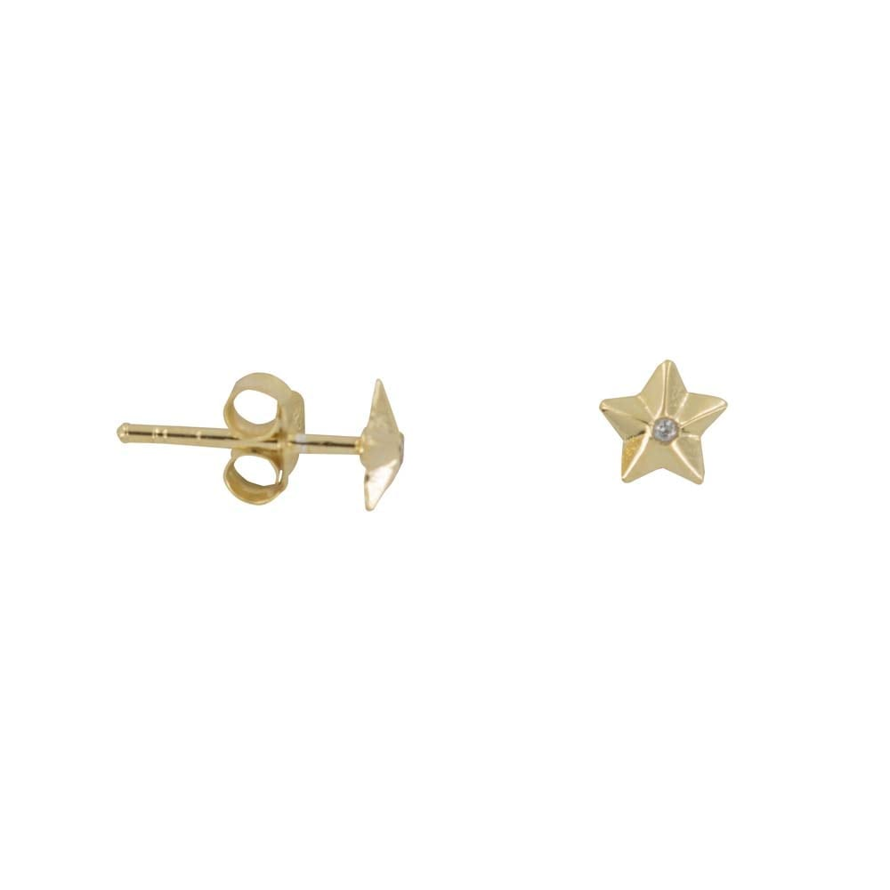E810a Gold REBELLION EARRING Medium Star Cone White Stone Stud earring 34,95 euro
