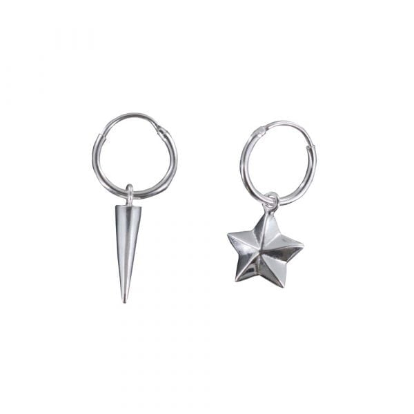 E811 Silver REBELLION EARRING Small Hoop Star Cone and Cone Earring 34,95 euro