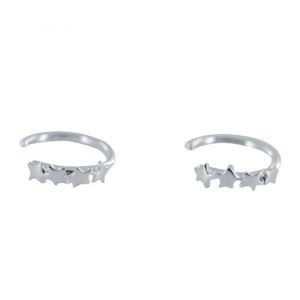 E812 Silver REBELLION EARRING Four Stars Ring Earring 29,95 euro