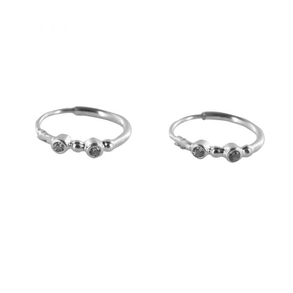 E825 Silver REBELLION EARRING Small Hoop White Zirkonia Earring 29,95 euro