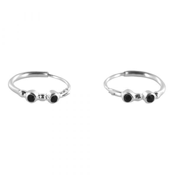 E826 Silver REBELLION EARRING Small Hoop Black Zirkonia Earring 29,95 euro