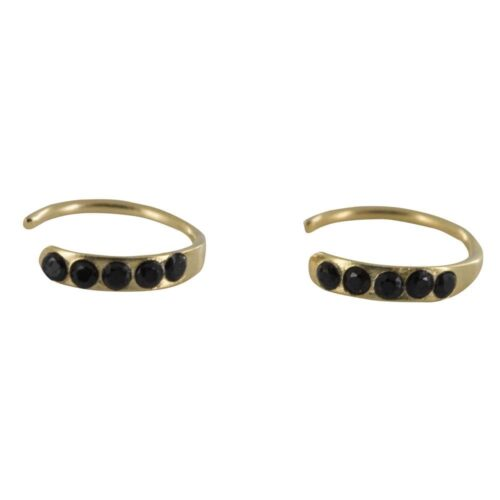 E828 Gold REBELLION EARRING Small Five Black Zirkonia Ring Earring 34,95 euro