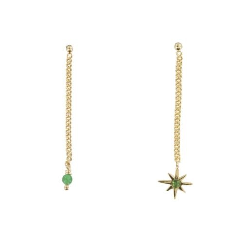 E829 Gold REBELLION EARRING Green Bead and Small Flash Star Chain Earring 34,95 euro