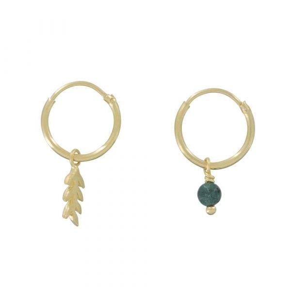 E834 Gold REBELLION EARRING Small Hoop Leaf and Green Stone Earring 39,95 euro