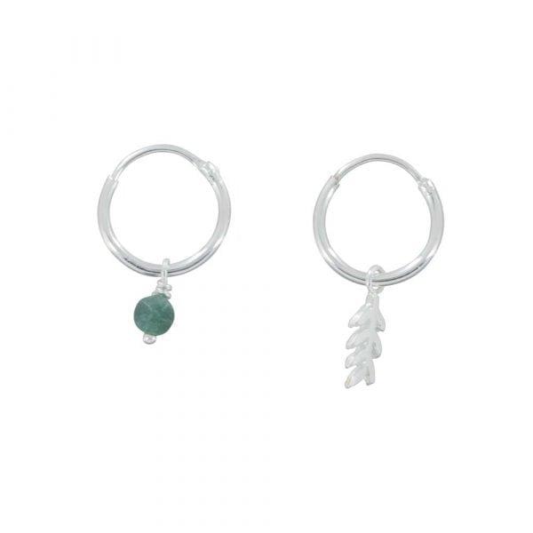 E834 Silver REBELLION EARRING Small Hoop Leaf and Green Stone Earring 34,95 euro