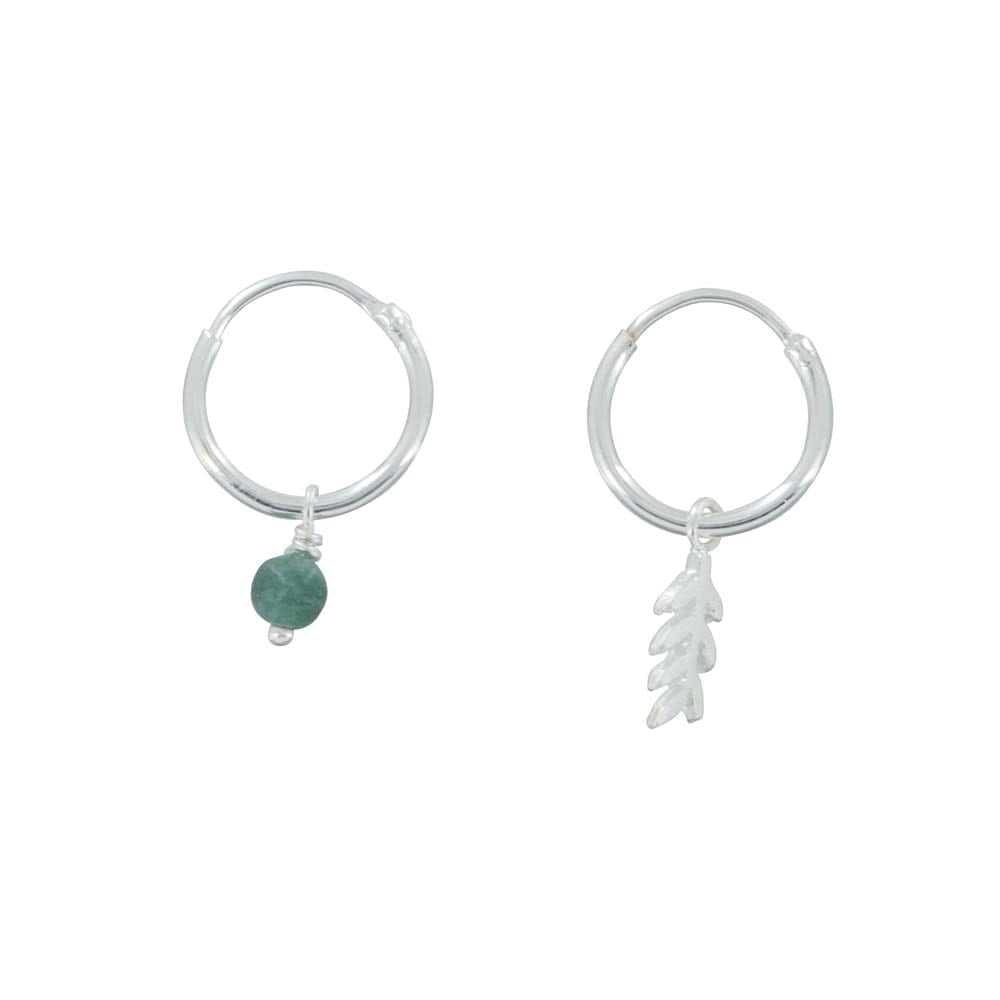 E834 Silver REBELLION EARRING Small Hoop Leaf and Green Stone Earring 34,95 euro