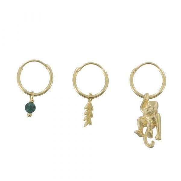 E835 Gold REBELLION EARRING Small Hoop Leaf, Green Stone and Monkey Earring 69,95 euro