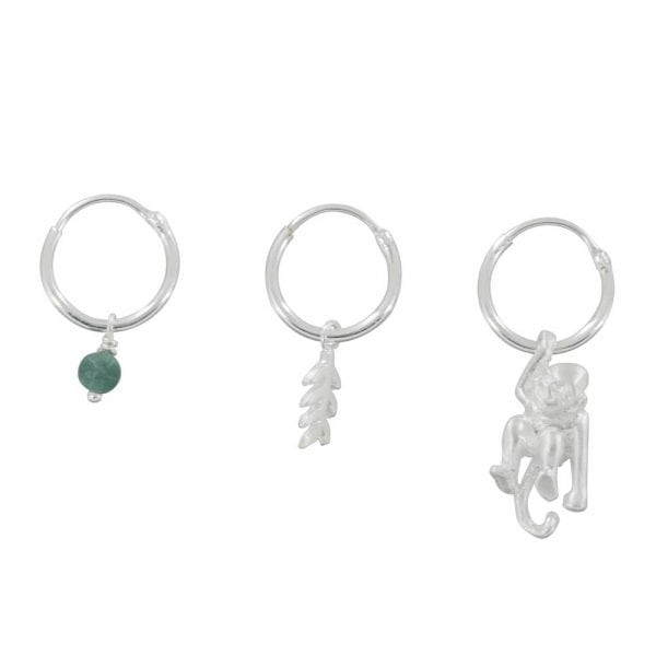 E835 Silver REBELLION EARRING Small Hoop Leaf, Green Stone and Monkey Earring 59,95 euro