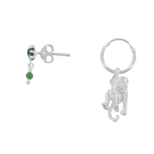 E835a Silver REBELLION EARRING Green Double Stud and Monkey Hoop Earring 49,95 euro