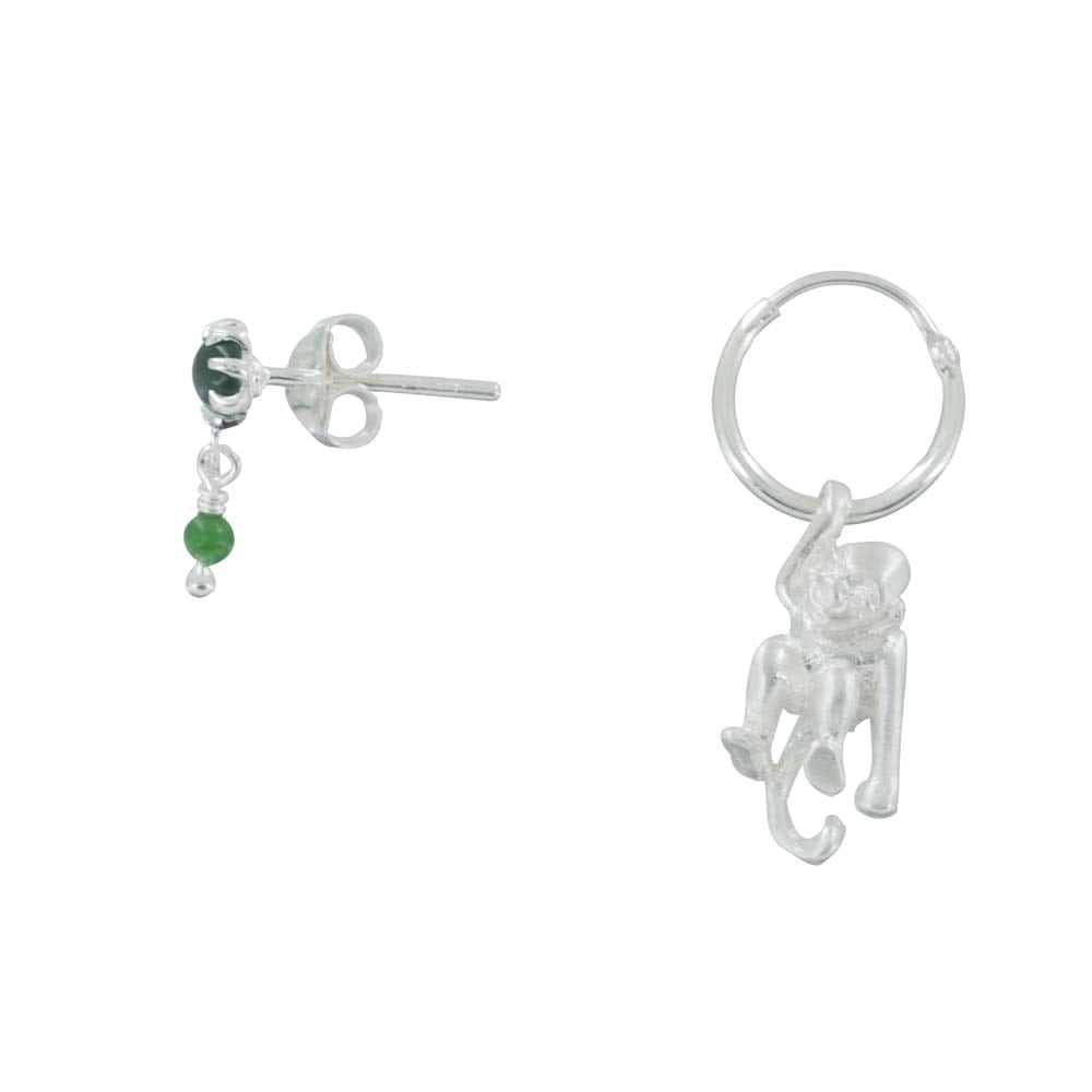 E835a Silver REBELLION EARRING Green Double Stud and Monkey Hoop Earring 49,95 euro