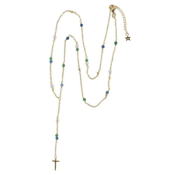 N840 Gold REBELLION NECKLACE Rosary Cross Necklace 79,95 euro