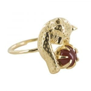R836 Gold REBELLION RING Leopard Red Stone Ring 59,95 euro