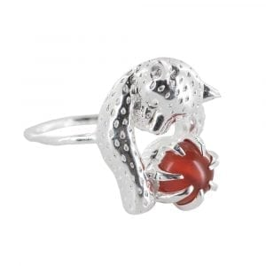 R836 Silver REBELLION RING Leopard Red Stone Ring 49,95 euro