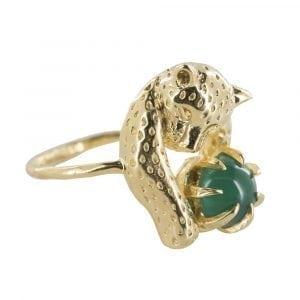 R837 Gold REBELLION RING Leopard Green Stone Ring 59,95 euro